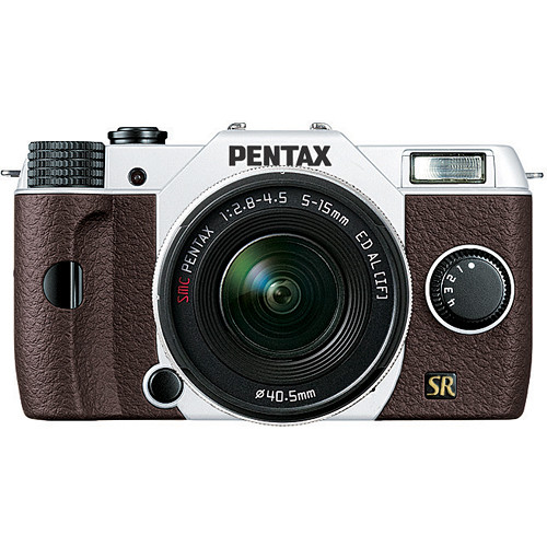 Pentax Q7 Compact Mirrorless Camera with 5-15mm f/2.8-4.5 Zoom Lens (White/Brown)