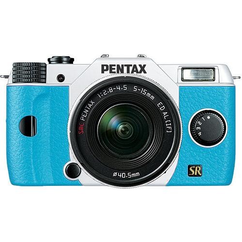 Pentax Q7 Compact Mirrorless Camera with 5-15mm f/2.8-4.5 Zoom Lens (White/Aqua)