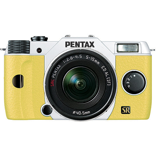 Pentax Q7 Compact Mirrorless Camera with 5-15mm f/2.8-4.5 Zoom Lens (White/Yellow)