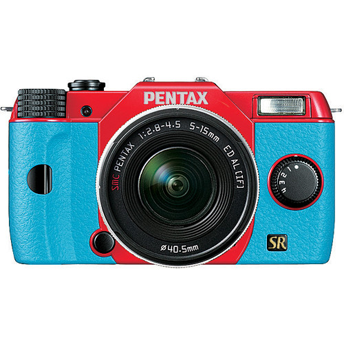 Pentax Q7 Compact Mirrorless Camera with 5-15mm f/2.8-4.5 Zoom Lens (Red/Aqua)