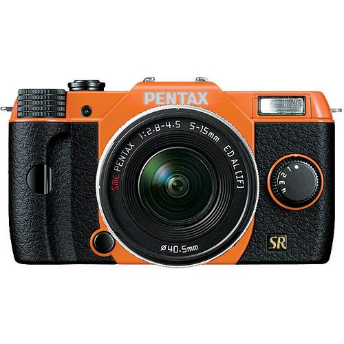 Pentax Q7 Compact Mirrorless Camera with 5-15mm f/2.8-4.5 Zoom Lens (Orange/Black)