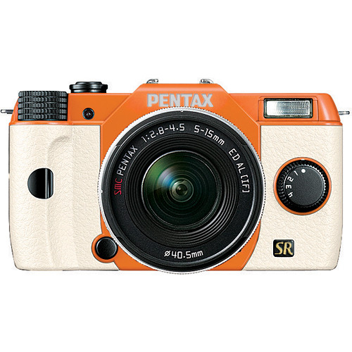 Pentax Q7 Compact Mirrorless Camera with 5-15mm f/2.8-4.5 Zoom Lens (Orange/White)