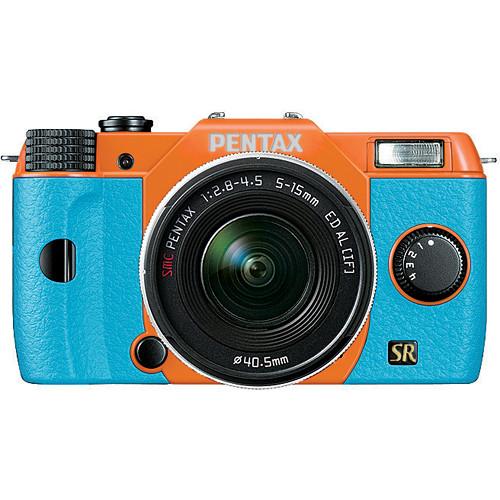 Pentax Q7 Compact Mirrorless Camera with 5-15mm f/2.8-4.5 Zoom Lens (Orange/Aqua)