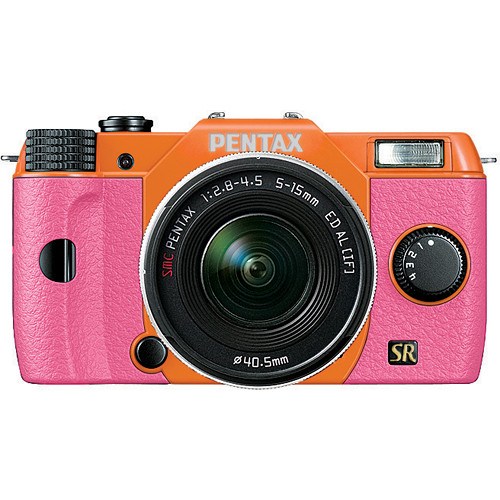 Pentax Q7 Compact Mirrorless Camera with 5-15mm f/2.8-4.5 Zoom Lens (Orange/Pink)