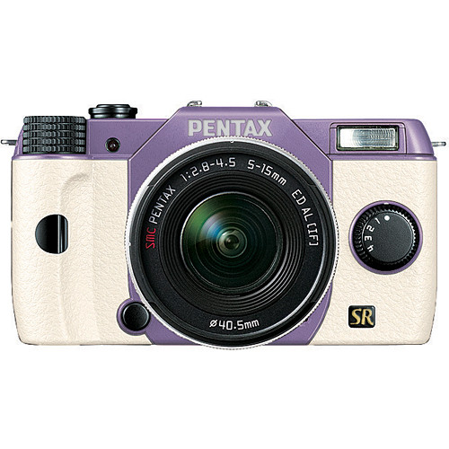 Pentax Q7 Compact Mirrorless Camera with 5-15mm f/2.8-4.5 Zoom Lens (Lavender/White)