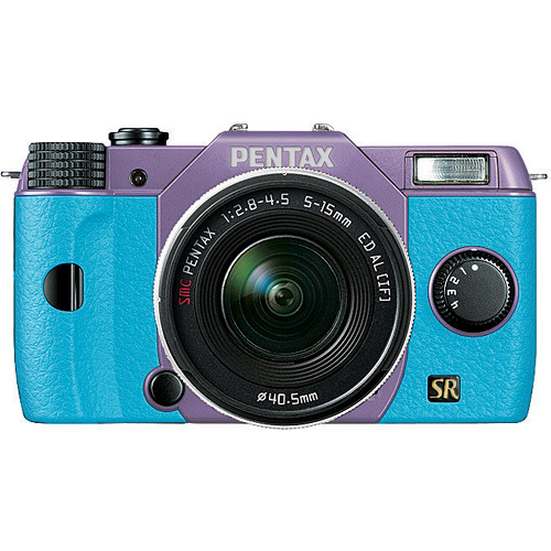 Pentax Q7 Compact Mirrorless Camera with 5-15mm f/2.8-4.5 Zoom Lens (Lavender/Aqua)