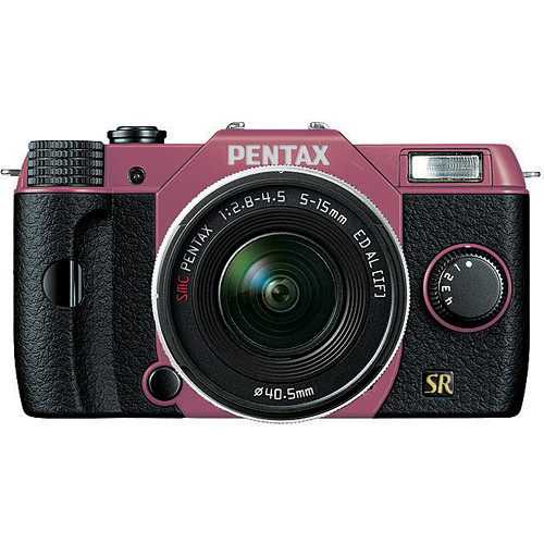 Pentax Q7 Compact Mirrorless Camera with 5-15mm f/2.8-4.5 Zoom Lens (Pink/Black)
