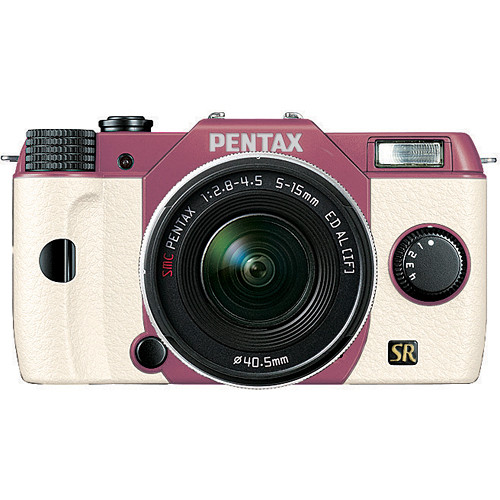 Pentax Q7 Compact Mirrorless Camera with 5-15mm f/2.8-4.5 Zoom Lens (Pink/White)