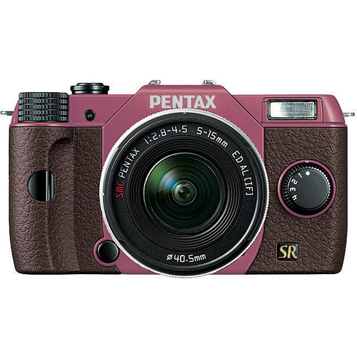 Pentax Q7 Compact Mirrorless Camera with 5-15mm f/2.8-4.5 Zoom Lens (Pink/Brown)