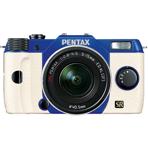 Pentax Q7 Compact Mirrorless Camera with 5-15mm f/2.8-4.5 Zoom Lens (Blue/White)