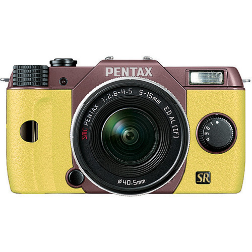 Pentax Q7 Compact Mirrorless Camera with 5-15mm f/2.8-4.5 Zoom Lens (Cocoa Brown/Yellow)