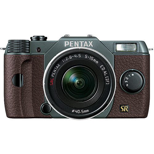 Pentax Q7 Compact Mirrorless Camera with 5-15mm f/2.8-4.5 Zoom Lens (Olive Green/Brown)