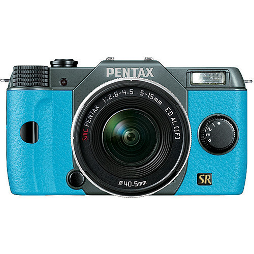Pentax Q7 Compact Mirrorless Camera with 5-15mm f/2.8-4.5 Zoom Lens (Olive Green/Aqua)