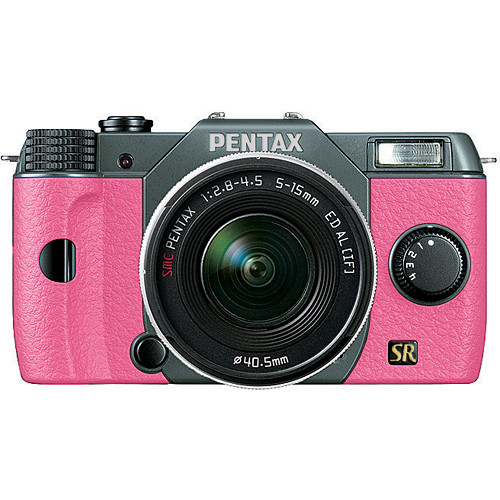 Pentax Q7 Compact Mirrorless Camera with 5-15mm f/2.8-4.5 Zoom Lens (Olive Green/Pink)