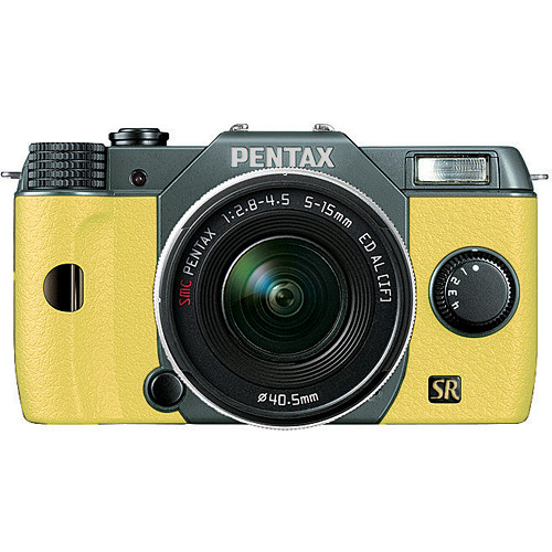 Pentax Q7 Compact Mirrorless Camera with 5-15mm f/2.8-4.5 Zoom Lens (Olive Green/Yellow)