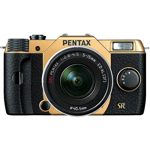 Pentax Q7 Compact Mirrorless Camera with 5-15mm f/2.8-4.5 Zoom Lens (Gold/Black)