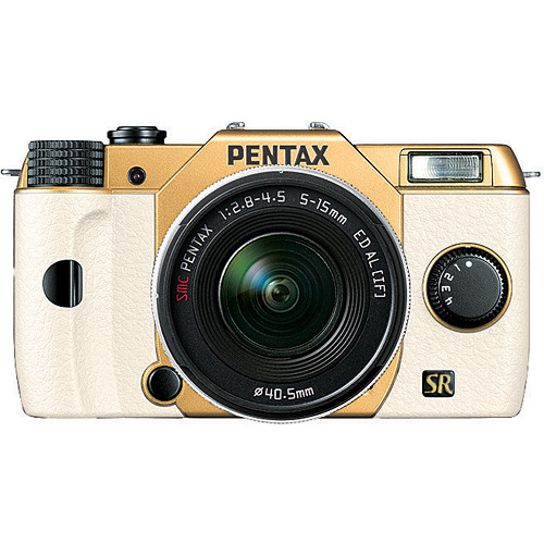 Pentax Q7 Compact Mirrorless Camera with 5-15mm f/2.8-4.5 Zoom Lens (Gold/White)