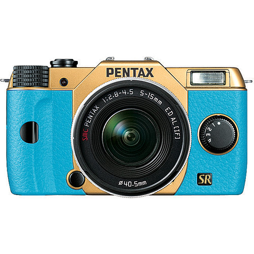 Pentax Q7 Compact Mirrorless Camera with 5-15mm f/2.8-4.5 Zoom Lens (Gold/Aqua)