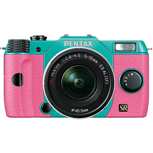 Pentax Q7 Compact Mirrorless Camera with 5-15mm f/2.8-4.5 Zoom Lens (Mint/Pink)