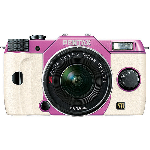 Pentax Q7 Compact Mirrorless Camera with 5-15mm f/2.8-4.5 Zoom Lens (Lilac/White)