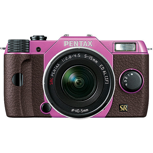 Pentax Q7 Compact Mirrorless Camera with 5-15mm f/2.8-4.5 Zoom Lens (Lilac/Brown)