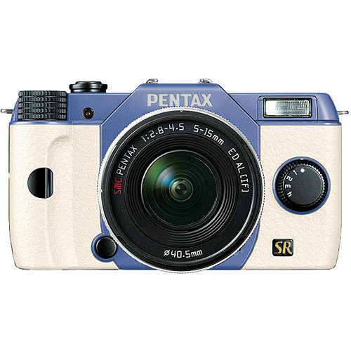 Pentax Q7 Compact Mirrorless Camera with 5-15mm f/2.8-4.5 Zoom Lens (Sky/White)