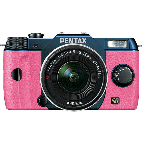 Pentax Q7 Compact Mirrorless Camera with 5-15mm f/2.8-4.5 Zoom Lens (Metal Navy/Pink)