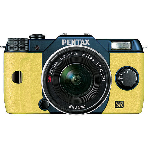 Pentax Q7 Compact Mirrorless Camera with 5-15mm f/2.8-4.5 Zoom Lens (Metal Navy/Yellow)