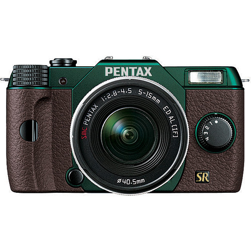 Pentax Q7 Compact Mirrorless Camera with 5-15mm f/2.8-4.5 Zoom Lens (Metal Green/Brown)