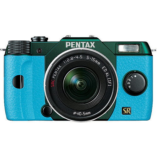 Pentax Q7 Compact Mirrorless Camera with 5-15mm f/2.8-4.5 Zoom Lens (Metal Green/Aqua)