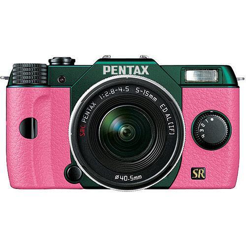 Pentax Q7 Compact Mirrorless Camera with 5-15mm f/2.8-4.5 Zoom Lens (Metal Green/Pink)
