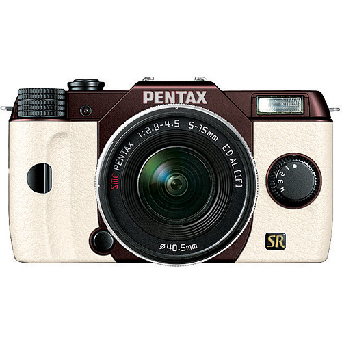 Pentax Q7 Compact Mirrorless Camera with 5-15mm f/2.8-4.5 Zoom Lens (Metal Brown/White)