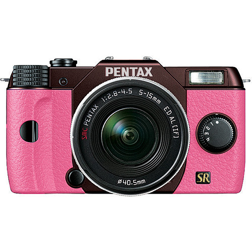 Pentax Q7 Compact Mirrorless Camera with 5-15mm f/2.8-4.5 Zoom Lens (Metal Brown/Pink)