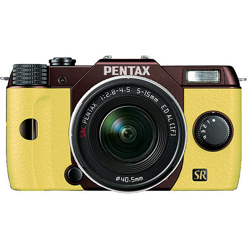 Pentax Q7 Compact Mirrorless Camera with 5-15mm f/2.8-4.5 Zoom Lens (Metal Brown/Yellow)