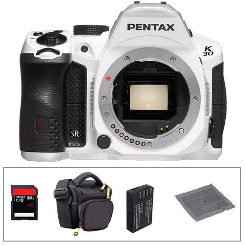 Pentax K-30 Digital Camera Body Basic Accessory Kit (White)