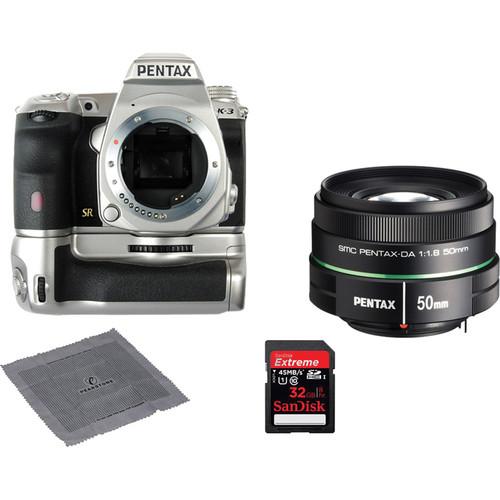 Pentax K-3 Premium Silver Edition DSLR Camera With 50mm f/1.8 Lens Kit