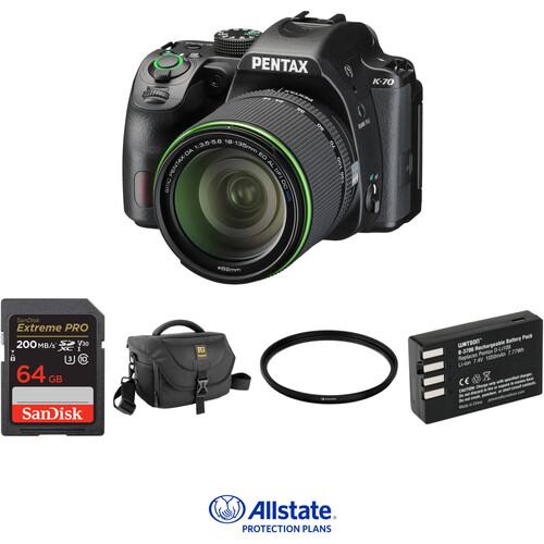 Pentax K-70 DSLR Camera with 18-135mm Lens Deluxe Kit (Black)