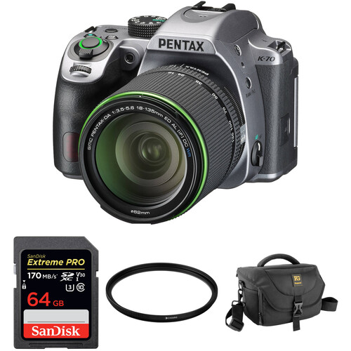 Pentax K-70 DSLR Camera with 18-135mm Lens and Accessories Kit (Silver)