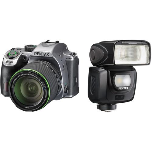Pentax K-70 DSLR Camera with 18-135mm Lens and AF360FGZ II Flash Kit (Silver)