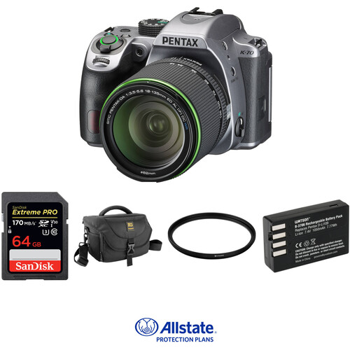 Pentax K-70 DSLR Camera with 18-135mm Lens Deluxe Kit (Silver)