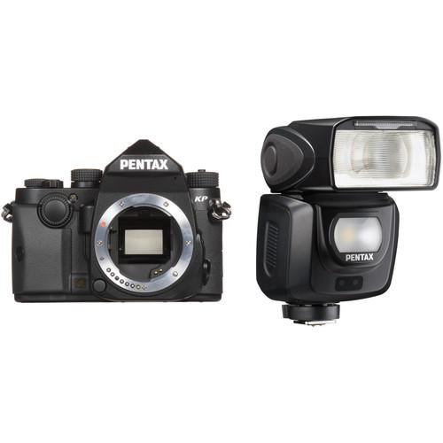 Pentax KP DSLR Camera Body with AF360FGZ II Flash Kit (Black)