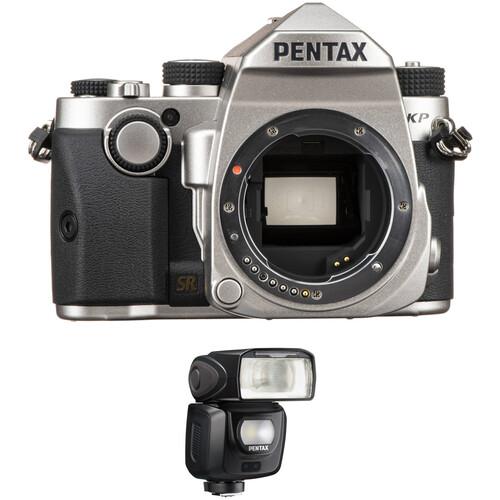 Pentax KP DSLR Camera Body with AF360FGZ II Flash Kit (Silver)