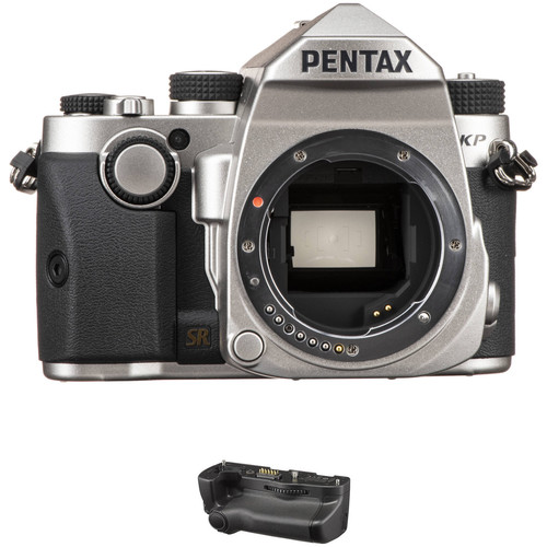 Pentax KP DSLR Camera Body with Battery Grip Kit (Silver)