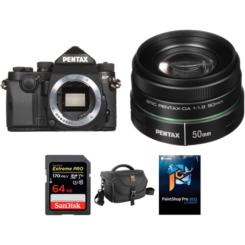 Pentax KP DSLR Camera with 50mm f/1.8 Lens and Accessories Kit (Black)
