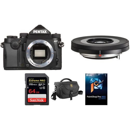 Pentax KP DSLR Camera with 40mm Lens and Accessories Kit (Black)