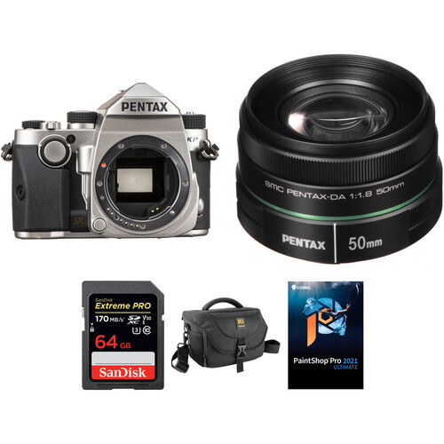 Pentax KP DSLR Camera with 50mm f/1.8 Lens and Accessories Kit (Silver)