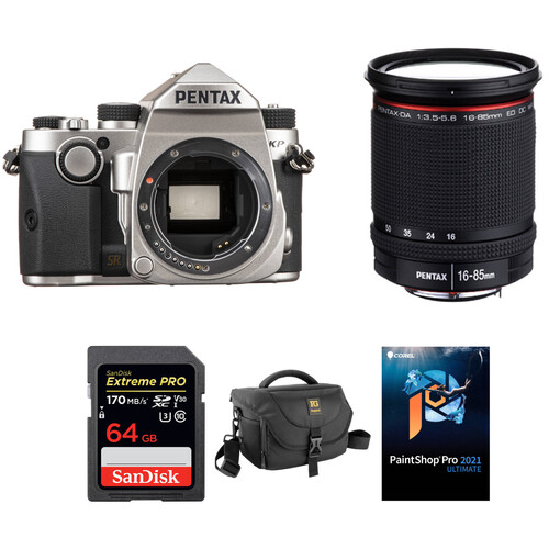 Pentax KP DSLR Camera with 16-85mm Lens and Accessories Kit (Silver)