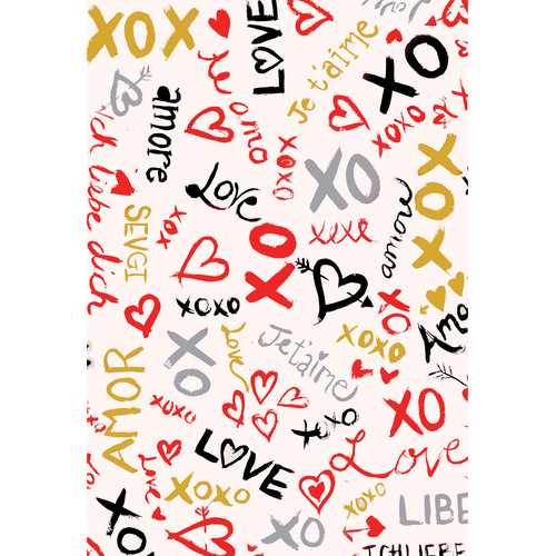 PepperLu PolyPaper Photo Backdrop (5 x 7', Love Languages Pattern, Multi-Color)