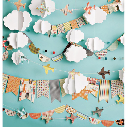 PepperLu PolyPaper Photo Backdrop (5 x 5', Cloudy Day Airplanes Pattern)