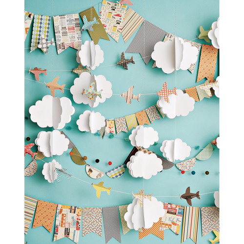 PepperLu PolyPaper Photo Backdrop (5 x 6', Cloudy Day Airplanes Pattern)